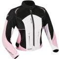 Blouson Moto Ixon Strada Noir Blanc Rose