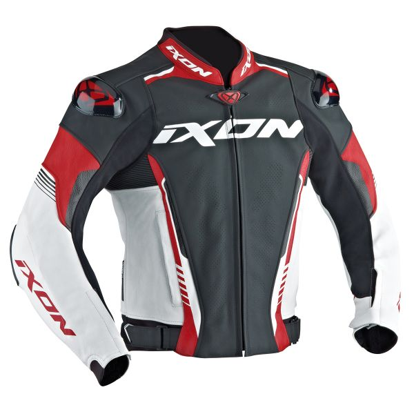 Blouson Moto Ixon Vortex Jacket Black White Red