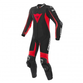 Combinaison Moto Cuir Dainese D-Air Racing Misano Black Fluo Red