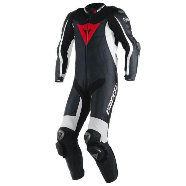 Combinaison Moto Cuir Dainese D-Air Racing Misano Black White