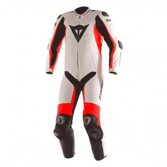Combinaison Moto Cuir Dainese D-Air Racing Misano White Fluo Red Black
