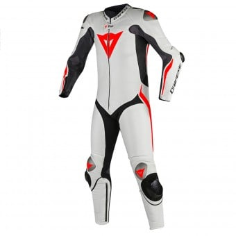 Combinaison Moto Cuir Dainese Mugello R D-Air Black White Fluo Red