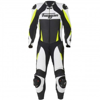 Combinaison Moto Cuir Furygan Full Apex White Yellow Fluo Black