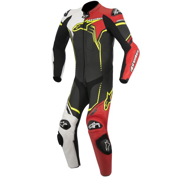 Combinaison Moto Cuir Alpinestars GP Plus Leather Suit Black White Red Yellow Fluo