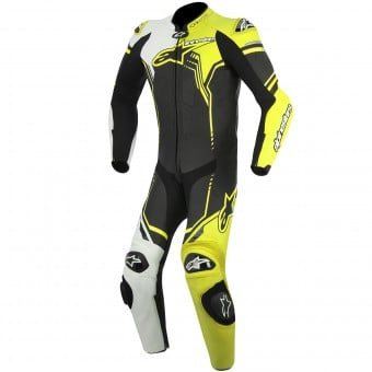 Combinaison Moto Cuir Alpinestars GP Plus Leather Suit Black White Yellow Fluo