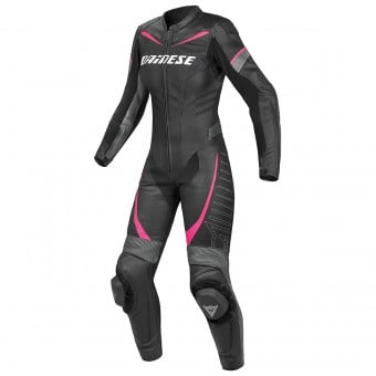Combinaison Moto Cuir Dainese Racing P. Lady Black Anthracite Fuchsia