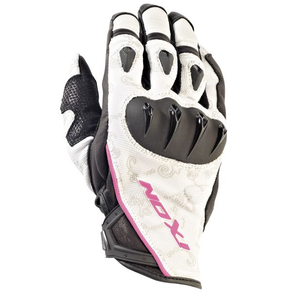 Gants Moto Ixon RS Tatoo VX HP Noir Blanc Rose