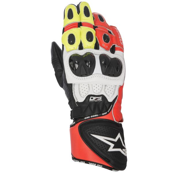 Gants Moto Alpinestars GP Plus R Black White Red Yellow Fluo