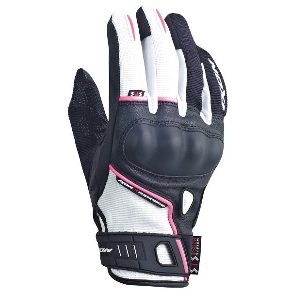 Gants Moto Ixon RS Grip Lady HP Noir Blanc Fushia