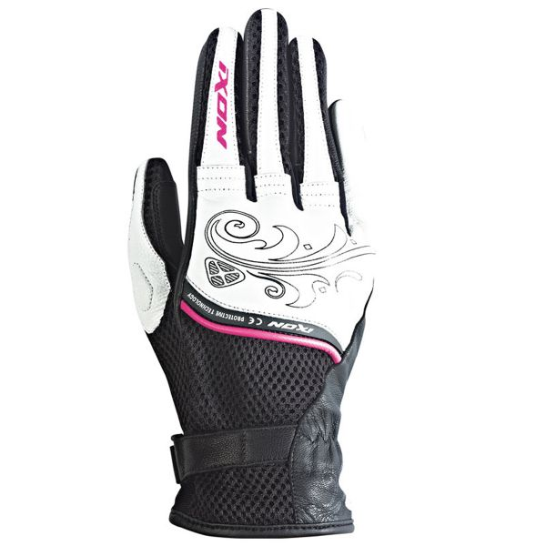 Gants Moto Ixon RS Shine Black White Fuchsia