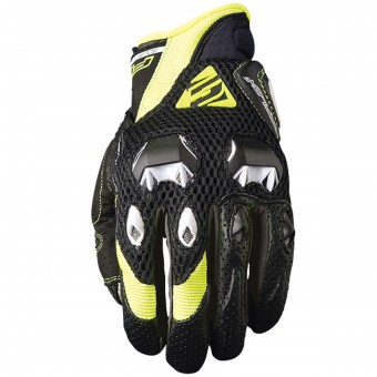 Gants Moto Five Stunt Evo Airflow Black Yellow Fluo