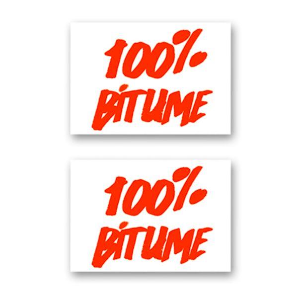 Kit Autocollants Moto 100% Bitume Lot 2 Stickers 100% Bitume 14 x 11 Fluo Orange