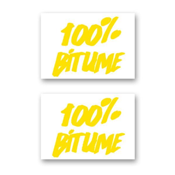 Kit Autocollants Moto 100% Bitume Lot 2 Stickers 100% Bitume 14 x 11 Yellow