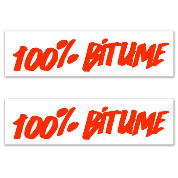 Kit Autocollants Moto 100% Bitume Lot 2 Stickers 100% Bitume 14 x 3 Fluo Orange