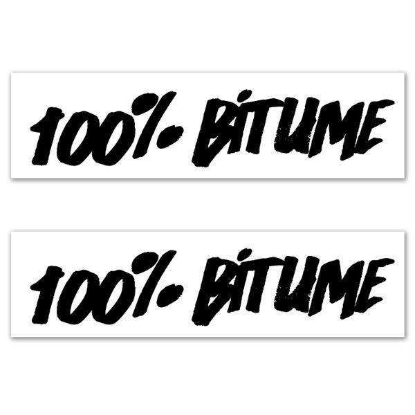 Kit Autocollants Moto 100% Bitume Lot 2 Stickers 100% Bitume 14 x 3 Black