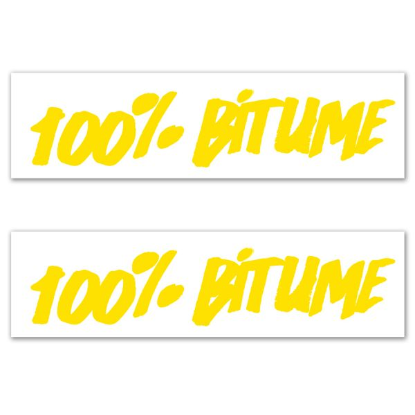 Kit Autocollants Moto 100% Bitume Lot 2 Stickers 100% Bitume 14 x 3 Yellow