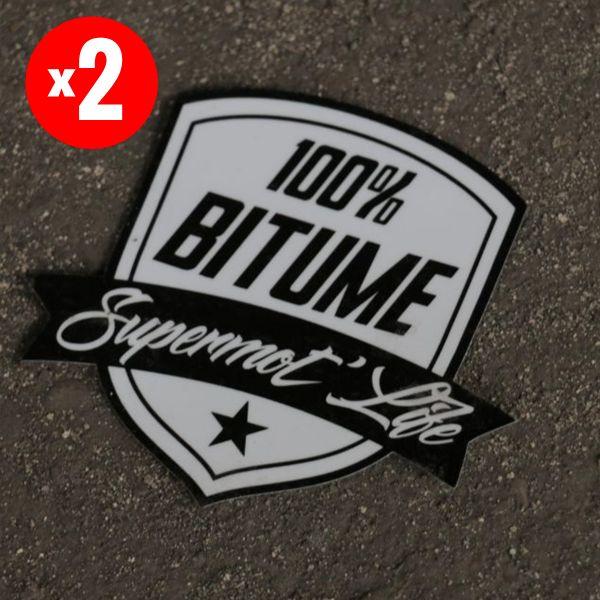 Kit Autocollants Moto 100% Bitume Lot de 2 Stickers Supermot Life  9 x 8 cm Black