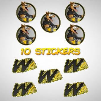 Kit Autocollants Moto Walane Pack 10 Stickers Walane et W