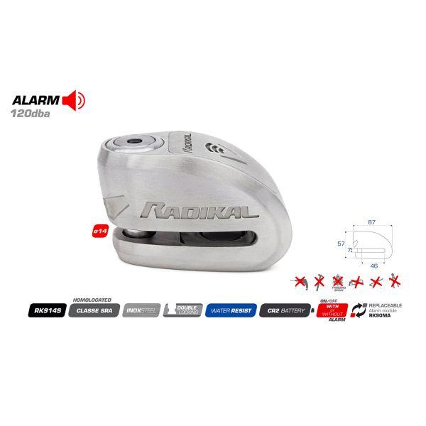Radikal Bloc-disque Alarme SRA Inox Diametre 14