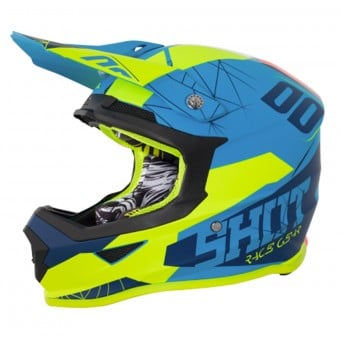 Casque Cross SHOT Furious Spectre Blue Neon Yellow Matt