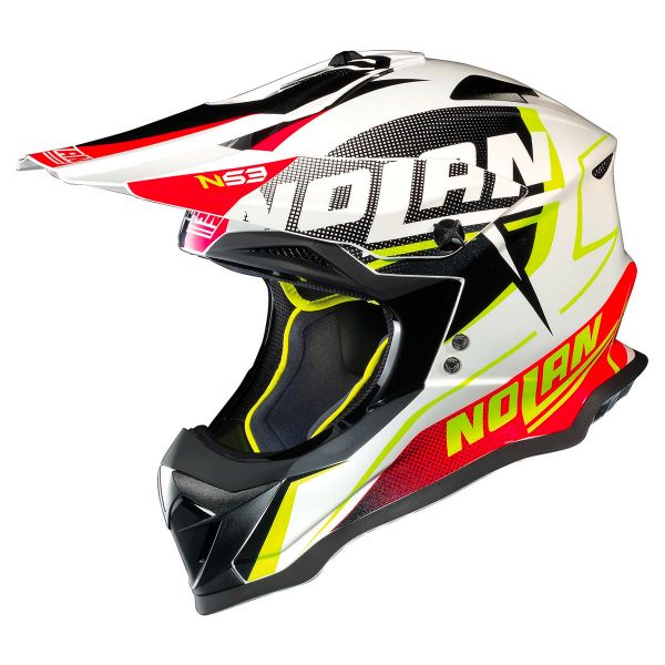Casque Cross Nolan N53 Sidewinder White Black Red 43