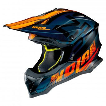 Casque Cross Nolan N53 Whoop Flat Black Blue Orange 47