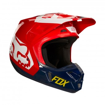 Casque Cross FOX V2 Preme Navy Red