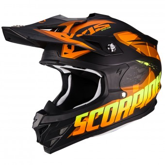 Casque Cross Scorpion VX-15 Air Defender Matt Black Orange