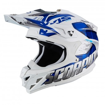 Casque Cross Scorpion VX-15 Air Defender WhIte Blue