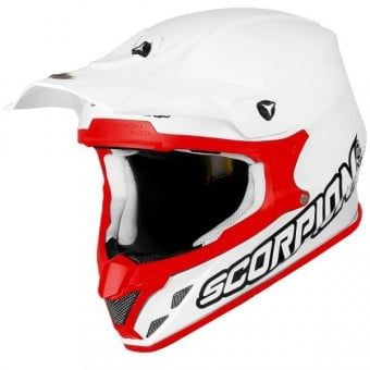 Casque Cross Scorpion VX-20 Air Blanc Rouge