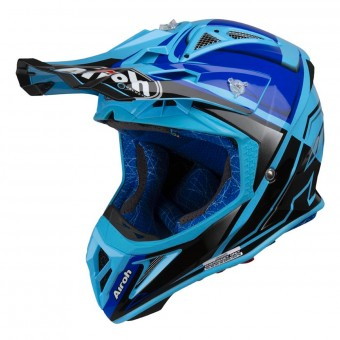 Casque Cross Airoh Aviator 2.2 Check Bleu