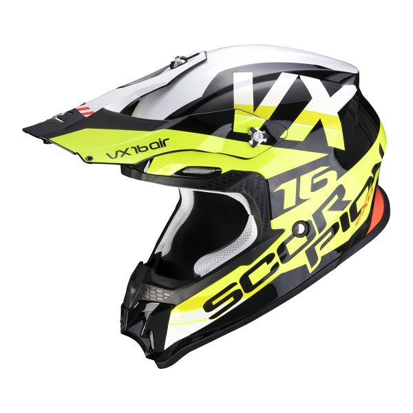 Casque Cross Scorpion VX-16 Air X-Turn Black Neon Yellow White