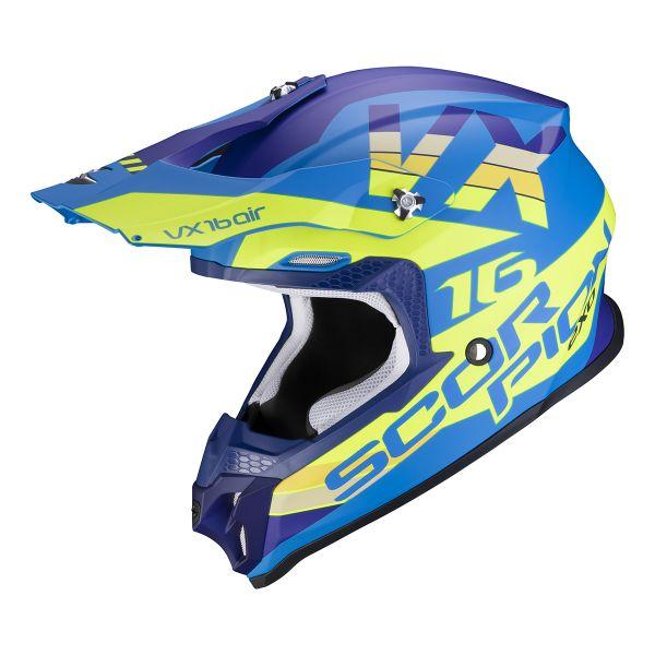 Casque Cross Scorpion VX-16 Air X-Turn Matt Blue Neon Yellow