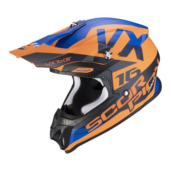 Casque Cross Scorpion VX-16 Air X-Turn Matt Orange Blue