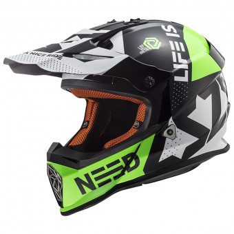 Casque Cross LS2 Fast Block Black Green MX437