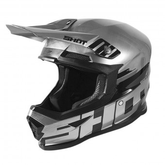 Casque Cross SHOT Furious Brush Metallic Silver Black