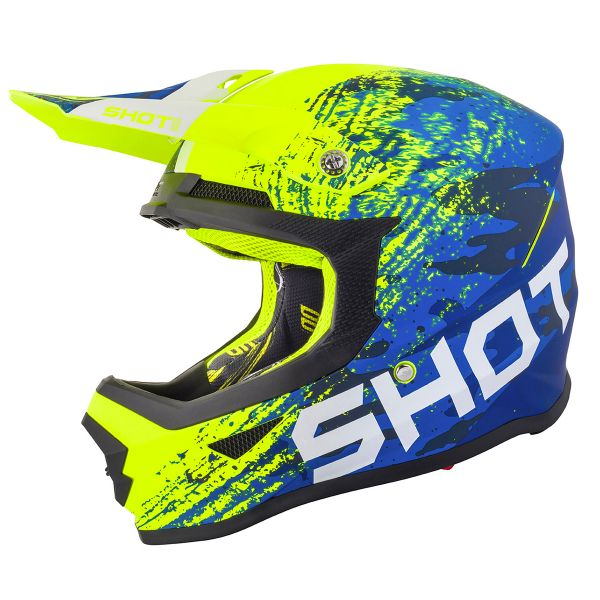 Casque Cross SHOT Furious Counter Bleu Neon Jaune Matt