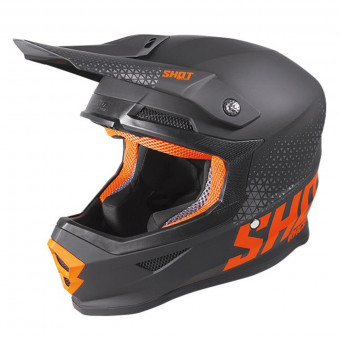 Casque Cross SHOT Furious Raw Black Neon Orange Matt