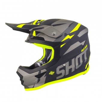 Casque Cross SHOT Furious Score Gris Neon Jaune Matt