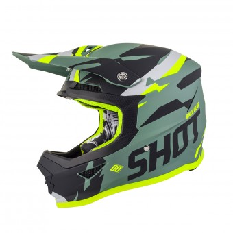 Casque Cross SHOT Furious Score Kaki Neon Jaune Matt