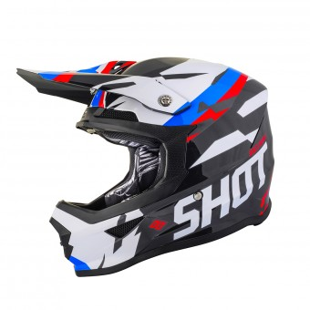Casque Cross SHOT Furious Score Noir Bleu Rouge
