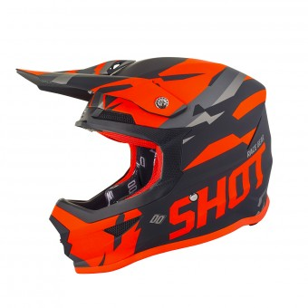 Casque Cross SHOT Furious Score Noir Neon Orange Matt