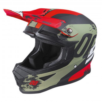 Casque Cross SHOT Furious Shadow Kaki Red Matt