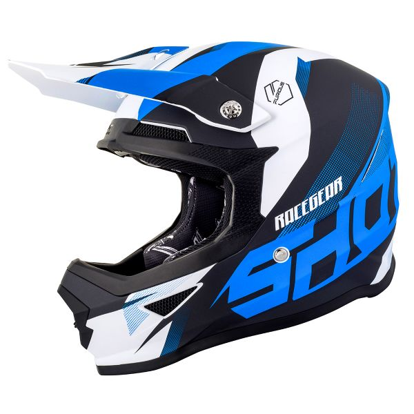 Casque Cross SHOT Furious Ultimate Bleu Blanc Matt