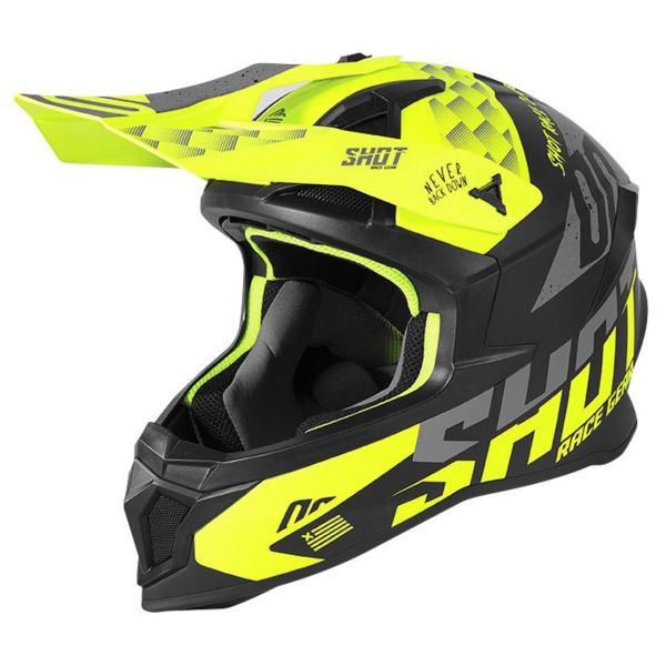 Casque Cross SHOT Lite Rush Neon Yellow Grey Matt