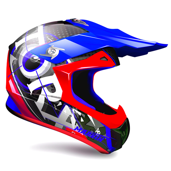 Casque Cross Torx Marvin 3 Eyes Neon Bleu Rouge