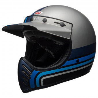 Casque Cross Bell Moto-3 Matte Silver Black Blue Stripes