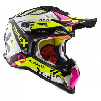 Casque Cross LS2 Subverter Triplex Black Pink Yellow MX470
