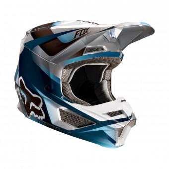 Casque Cross FOX V1 Motif Bleu Gris