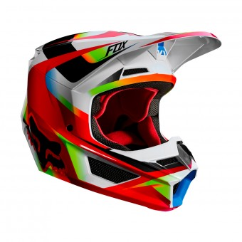 Casque Cross FOX V1 Motif Rouge Blanc